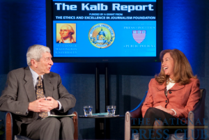 Marvin Kalb questions Los Angeles Times foreign correspondent, Laura King about her experiences reporting from Iraq and Afghanistan during a March 8 Kalb Report at the National Press Club.Photo: Noel...