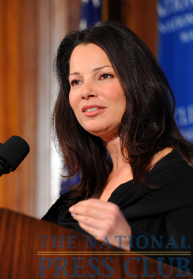 Actress Fran Drescher addresses an April 14 Press Club luncheon.Photo: Gregory Tinius/Tinius-Arts