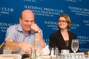 David Simon (L) and NPC member Angela Greiling-Keane talk prior to Simon's address at a June 8 luncheon event.Photo: Noel St. John