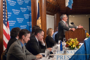 Congressman Barney Frank addresses a July 27 luncheon at the National Press Club. (L-R Kevin Drawbaugh, Kevin McCormally [obscured], Mark Hamrick, Steve Adamsky [obscured], Angela Greiling Keane, Barney Frank.)Photo: Noel...