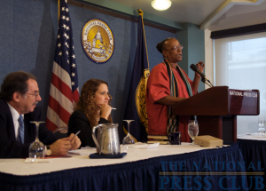 Newsmaker Committee Chair Jonathan Salant and NPC President Donna Leinwand (center) of USA Today listen as Bertha Lewis, Chief Executive Officer and organizer of ACORN, addresses a Newsmaker event at...