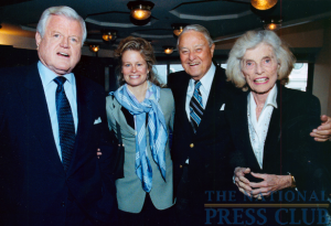 The Senator with his sister Eunice Kennedy Shriver (who passed away earlier this month), Sargent Shriver, and their niece Linda Shriver, January 16, 2002 before the Senator spoke at a...