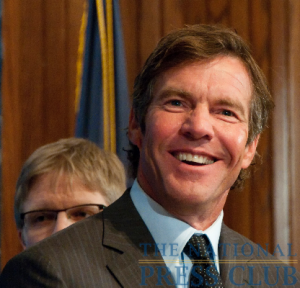 Actor Dennis Quaid smiles as he responds to a question after his address to a National Press Club luncheon.Photo: Al Teich