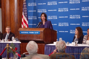 NTSB Chairman Deborah Hersman describes accident investigation procedures to NPC Luncheon audience.Photo: Terry Hill