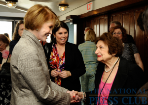 Mary Tyler Moore (L) is greeted by Press Club member Helen Thomas at a May 28 Luncheon event.Photo: Christy Bowe