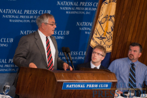 Congressman Barney Frank addresses a luncheon July 27 at the National Press Club. (L-R Barney Frank, Alan Bjerga, Jim Ready.)Photo: Noel St. John
