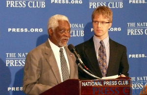 Haitian Ambassador to the U.S. Raymond Joseph takes questions from NPC President Alan Bjerga at a Feb. 11 Speakers Press Conference.Photo: NPC