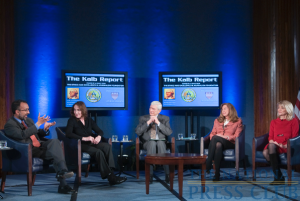 Marvin Kalb hosts a March 8 Kalb Report at the National Press Club. Foreign Correspondents Rajiv Chandrasekaran, Cami McCormick, Laura King and Martha Raddatz discuss their war reporting experiences.Photo: Noel...