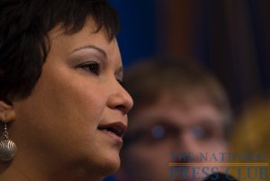 EPA Administrator Lisa Jackson takes questions from the press at a March 8 luncheon. Jackson discussed the 2010 Agenda of the EPA, and defended the Agency's stand on climate change.Photo:...