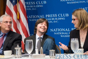 Documentary filmmaker Ken Burns speaks at an NPC luncheon on Monday September 28, 2009. (L-R: Gil Klein, Ken Burns and Angela Greiling Keane)Photo: Noel St. John
