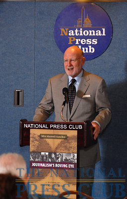 """John Maxwell Hamilton, author of """"Journalism's Roving Eye: A History of American Foreign Reporting"""" and Dean of Louisiana State University's Manship School of Mass Communication, addresses a book launch co-sponsored..."""