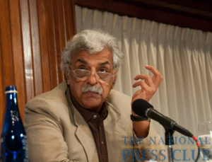 "Pakistani author Tariq Ali, who, together with Mark Weisbrot, wrote the script for director Oliver Stone's new film, ""South of the Border,"" answers a question following Stone's talk.Photo: Al Teich"