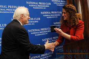 Chairman of the National Endowment for the Arts Jim Leach receives his NPC coffee mug.Photo: Christy Bowe