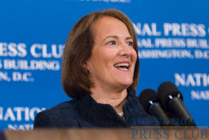 The head of the U.S. Small Business Administration, Karen Mills, discusses the Administration's efforts to boost the small business sector to drive economic recovery, at a National Press Club luncheon.Photo:...