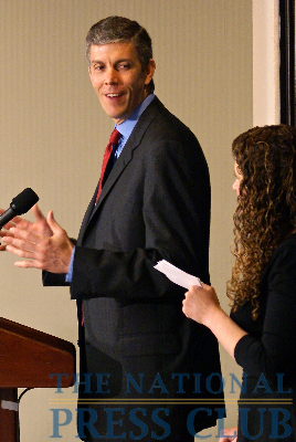 Education Secretary Arne Duncan answers reporter and audience questions relayed by NPC President Donna Leinwand at Friday's newsmaker.Photo: Kyle McKinnon