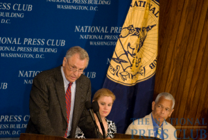 Morris Dees, founder and chief trial counsel of the Southern Poverty Law Center, addresses the National Press Club. (L-R Morris Dees, Theresa Werner, Julian Bond).Photo: Noel St. John