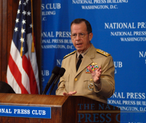 Adm. Mike Mullen, Chairman of the Joint Chiefs of Staff, answers questions from the audience at a Press Club Luncheon on July 8, 2009.Photo: Gregory Tinius