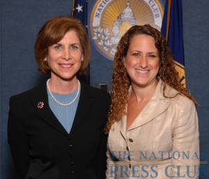 Gail McGovern, President and CEO of the American Red Cross (left), with NPC President Donna Leinwand of USA Today at a Press Club Luncheon on July 21, 2009.Photo: Gregory Tinius