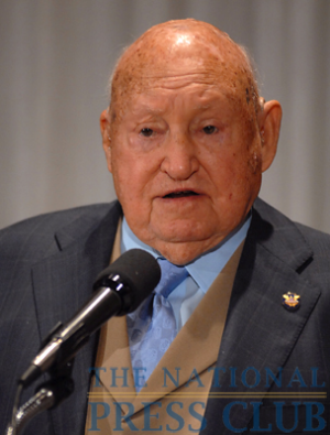 Chick-fil-A Inc. Founder/Chairman Truett Cathy addresses a National Press Club Speakers Series luncheon.Photo: Gregory Tinius