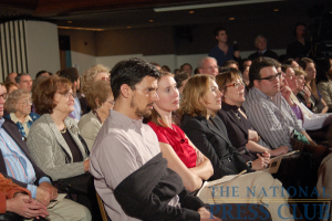 Standing-room-only audience watches Kalb Report featuring 60 Minutes' Fager and Stahl.Photo: Terry Hill