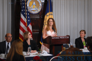 NPC President Donna Leinwand of USA Today introduces Robert Herz (far left), chairman of the Financial Accounting Standards Board, to the Press Club Luncheon on June 26, 2009, as Angela...