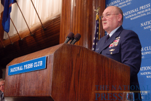 Adm. Thad Allen, Commandant of the U.S. Coast Guard, delivers his final address as head of the nation's oldest maritime service.Photo: Terry Hill