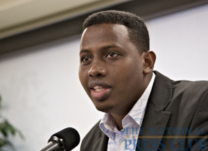 Award winner Mustafa Haji Abdinur, Somalia correspondent for Agence France-Presse and editor-in-chief of the independent Somali radio station Radio Simba, speaks at the International Press Freedom Awards Newsmaker, National Press...