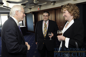 Chairman of the National Endowment for the Arts Jim Leach talks with Matt Small - Radio Producer of Associated Press and Mary Stewart of WETA during the VIP Reception.Photo: Christy...