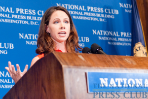 Barbara Bush, daughter of former president, George W. Bush, addresses a May 26 National Press Club Luncheon. Ms. Bush discussed the non-profit group she helped found, Global Health Corps.Photo: Noel...