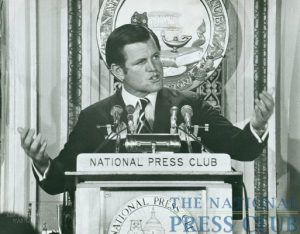 "Senator Kennedy addresses an August 26, 1971 Luncheon. He signed the NPC guest book with ""I am honored to be here as my brothers were before me. Ted Kennedy.""Photo: Walter..."
