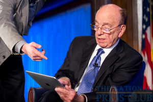 News Corp. Chairman and CEO Rupert Murdoch examining an iPad at the Kalb Report, filmed at the National Press Club Apr. 6, 2010.Photo: Sam Hurd