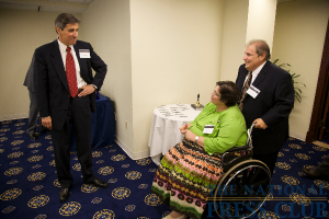 Dr. Cortese greets Mayo Clinic patient Mary Errato and her caregiver, Al Errato.Photo: Michael Foley