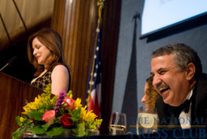 Thomas Friedman laughs as New York Times columnist Maureen Dowd delivers a few good natured barbs. (L-R: Maureen Dowd, Donna Leinwand (obscured), Thomas Friedman)Photo: Noel St. John