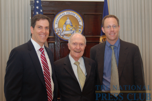 Gerald Ford Journalism Award Winners Ben Feller (Associated Press), left, and Greg Jaffe (Washington Post), right, are congratulated by awards luncheon keynote speaker Brent Scowcroft, former National Security Advisor to...
