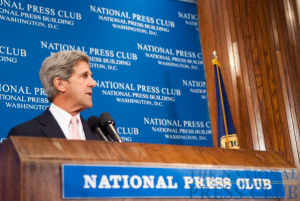 Senator John Kerry discusses climate change at a July 29 NPC luncheon.Photo: Noel St. John