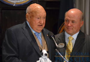 Chick-fil-A President/CEO Dan Cathy (rights) listens as Chick-fil-A Inc. Founder/Chairman Truett Cathy addresses a National Press Club Speakers Series luncheon.Photo: Gregory Tinius