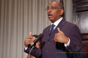Republican National Committee Chairman Michael Steele expresses opposition to President Obama's health-care reform plan at a July 20 NPC Newsmaker event.Photo: Terry Hill