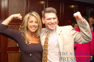 Flexing for fitness with NPC member Andrew Schneider, chair of the Book & Author Committee.Photo: Terry Hill