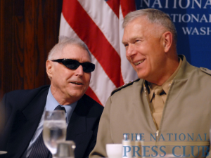 General James T. Conway, the U.S. Marine Corps Commandant, chats with John Fales of the Washington Times at a June 11 National Press Club luncheon.Photo: Gregory Tinius