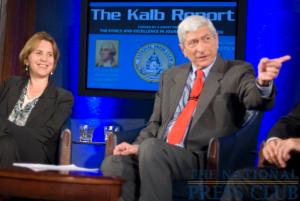 NPR President Vivian Schiller (L) with host Marvin Kalb.Photo: Noel St. John