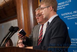 "Congressman Barney Frank gets ""mugged by the press"" at a July 27 NPC luncheon. (L-R Marilyn Geewax, Angela Greiling Keane, Barney Frank, Alan Bjerga.)Photo: Noel St. John"