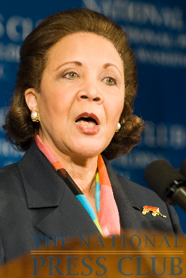 Alma Powell speaks at an April 1 NPC luncheon.Photo: Noel St. John