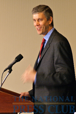 The US Secretary of Education, Arne Duncan, at the National Press Club's newsmaker event on May 29.Photo: Kyle McKinnon