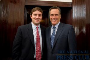 New member Luke Russert (left) with former Governor of Massachusetts Mitt Romney.Photo: Sam Hurd