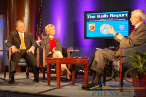 Kalb Report moderator Marvin Kalb, right, welcomes 60 Minutes Executive Producer Jeffrey Fager, left, and Correspondent Lesley Stahl.Photo: Terry Hill