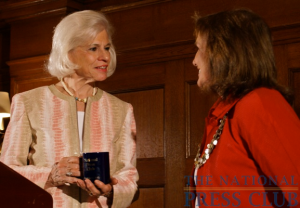 The NPC's Bea Snyder worked her magic to help bring author Elizabeth Edwards to the National Press Club event. Ms. Snyder offered Ms. Edwards the traditional gift of an NPC...