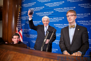 The NPC mug. (l to r): Andrew C. Schneider, Associate editor, Kiplinger Washington Editors, and chairman, NPC Speakers Committee, Thomas J. Donohue, President and CEO US Chamber of Commerce, and...
