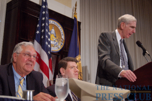 Former House Majority Leader Dick Armey, left, is introduced to National Press Club audience by former U.S. ambassador C. Boyden Gray.Photo: Terry Hill