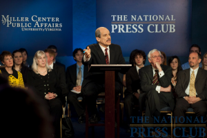 Moderator Paul Solman at a Miller Center Debate event held Feb. 26, 2010 at the National Press Club.Photo: Stephanie Gross