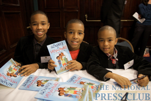 Budding authors (L-R) Andre, Alexander and Austin at the Book Fair and Authors night, National Press Club.Photo: Michael Foley